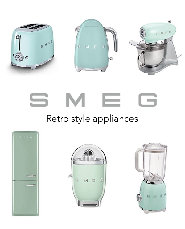 Smeg appliances, retro appliances, vintage appliances, old-fashioned appliances, vintage toaster, vintage refrigerator, vintage blender, vintage mixer