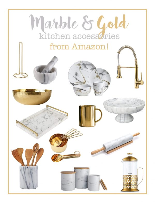 Marble and Gold Kitchen Accessories from Amazon!